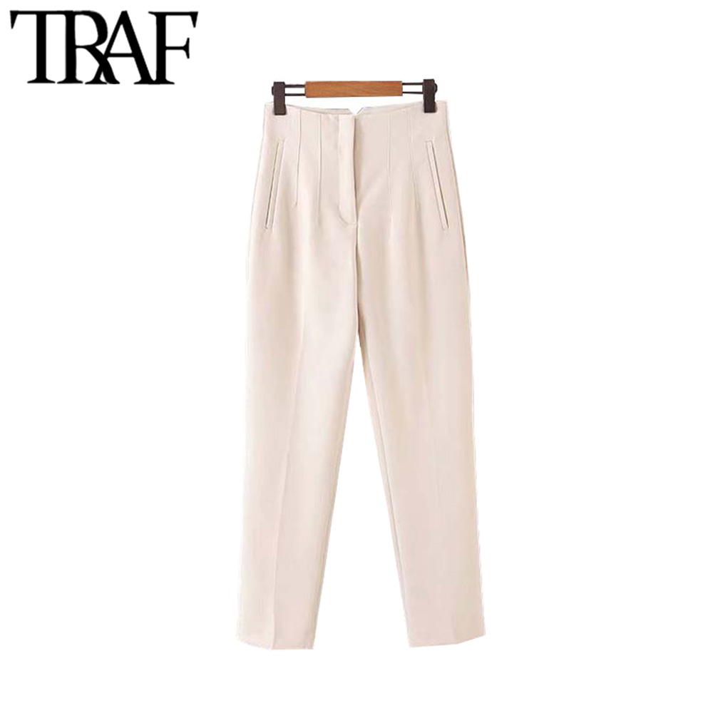 TRAF Women Vintage Stylish Office Wear High Waist Pants Fashion Zipper Fly Side Pockets Female Ankle Trousers Pantalones Mujer
