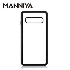 Image 1 - MANNIYA per Samsung Galaxy S10/S10 Plus/S10 Lite Sublimazione in bianco TPU + PC della Cassa della gomma con Alluminio inserti e Colla 100 pz/lotto