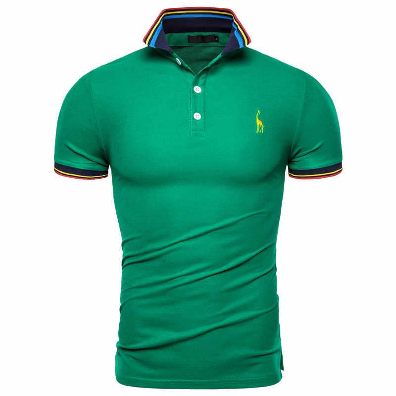 Camisa polo masculina de algodão, lisa, bordada, manga curta, moda masculina, dropshipping, 2019