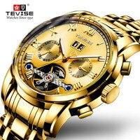 Tourbillo Steampunk Männer Militär Sport Armbanduhr Gold Automatische Mechanische Stahl Wasserdicht Männlichen Uhr Uhren Relogio-in Mechanische Uhren aus Uhren bei