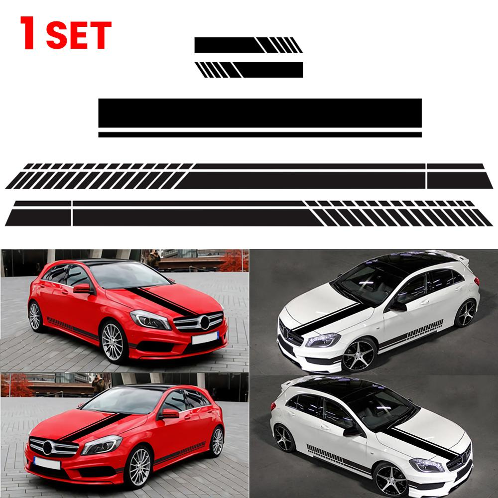 5pcs/set Car Hood Stripe Racing Sticker Graphic Car Hood Cover Vinyl Decal Rearview mirror Sticker for Car Exterior Parts