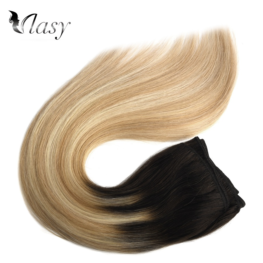 Vlasy 20'' Remy Human Hair Weft Double Drawn Straight Natural Hair Weave Bundles Balayage Color 100g/pc