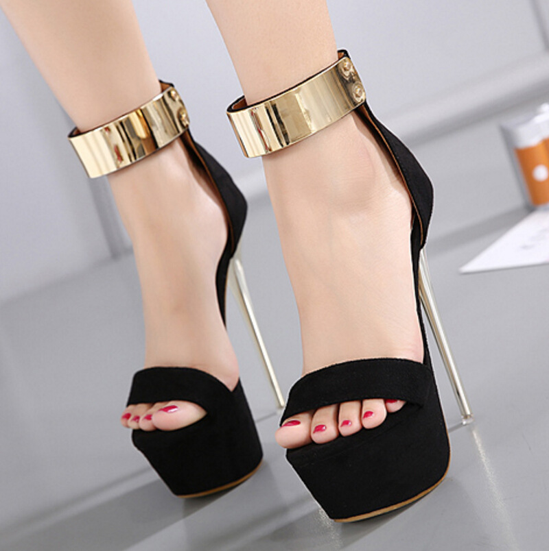 Sandals Platform Ankle-Wrap Thin-Heels Women Shoes Party-Club Decoration Metal Zip Flock