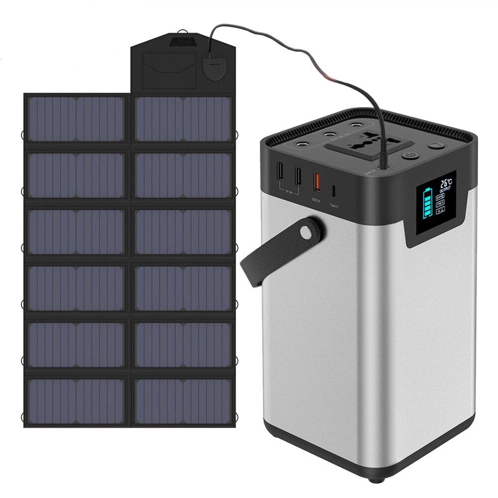 200Wh/54000 мА/ч, Портативный Мощность станция 110V 220V AC Мощность банк Солнечные генераторы ups Батарея Зарядка для автомобиля, автохолодильник, бес