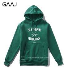 "GAAJ ""Slytherin Quidditch Team"" 프린트 레터 남성 까마귀 여성 캐주얼 Streetwear 후드 코트 Casual Homme 2019 New Jacket"
