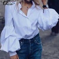 Celmia moda puff manga camisas femininas blusa botões casual solto sólido festa topos manga longa trabalho blusas femininas plus size