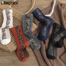 Vintage Women Cotton Sock Autumn Winter Floral Print Female Midi Lady Girls Fashion