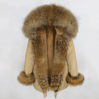 2019 Winter Jacket Women Natural Real Fox Fur Collar Hood Faux Fur Liner Outwear Thick Warm Parka Streetwear Waterproof Fabric