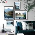 Красивый постер с природным ландшафтом и принты джунгли озеро гор отражение цитаты настенная живопись на холсте скандинавские изображения