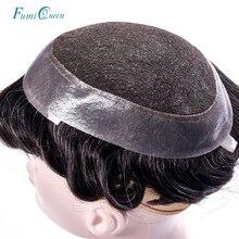 Ali FumiQueen szwajcarska koronka i PU Toupee systemy wymiany Handmade peruka męska Hairpiece 100% naturalne Remy indyjski ludzki włos