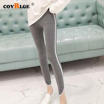 цена на Covrlge Leggings Women Cotton Lace Decoration Confortable pants Strip Words Leggins Plus Size Ankle-length Leggings 5XL WKX002
