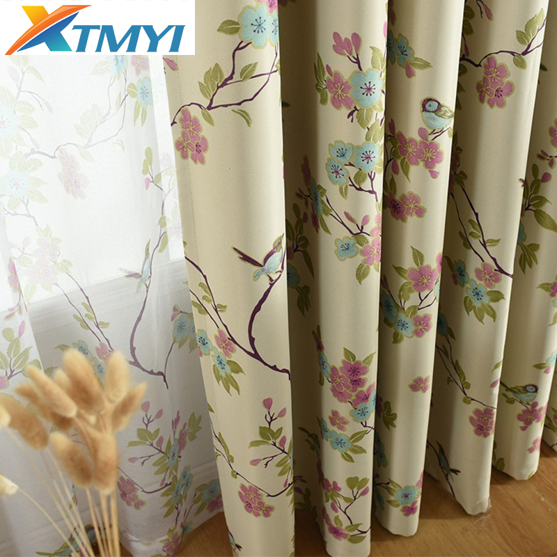 Flower Pattern Curtains for Living Room Bedroom modern Green/Beige Blackout Curtains and Pastoral Printing Window Drapes title=