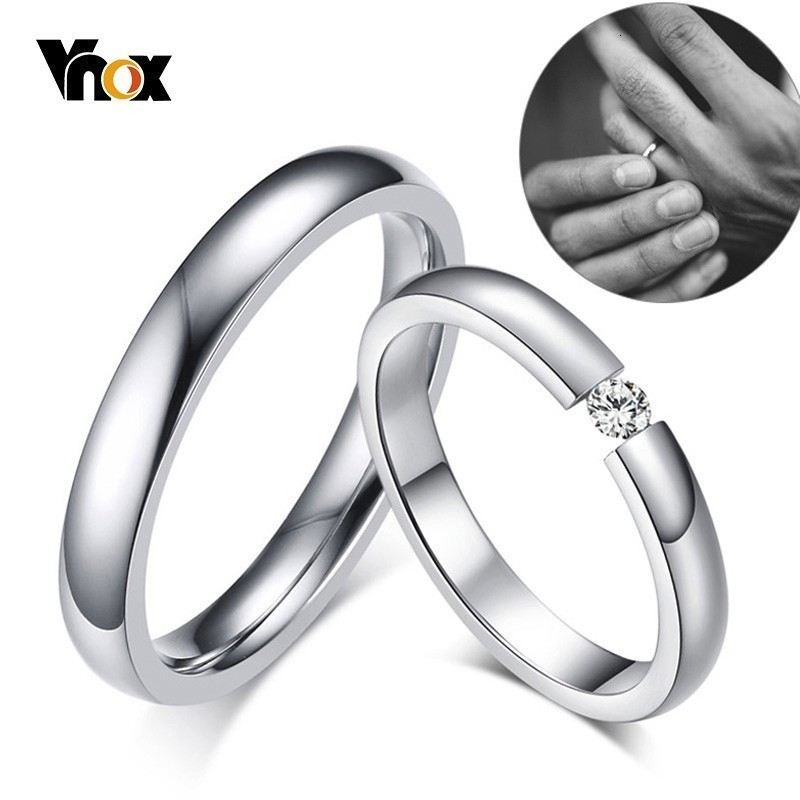 Vnox 3mm Thin Stainless Steel Wedding Rings for Women Men Never Fade Engagement Bands CZ Stone Solitaire Ring 1