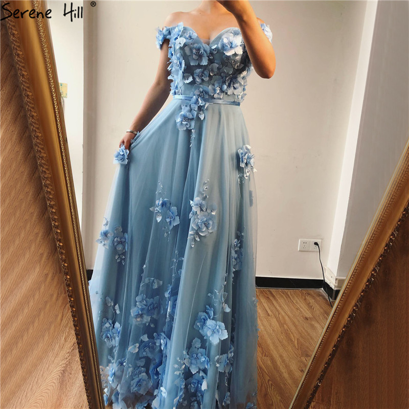 Blue Off  Shoulder Handmade Flowers Evening Dresses Pearls Sleeveless Sexy A-Line Evening Gowns 2019 Serene Hill LA70189