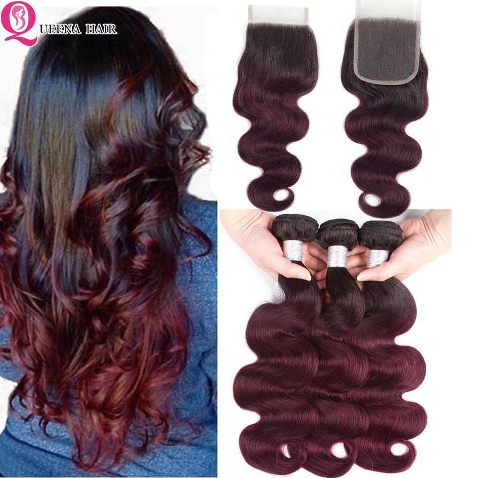 Queena Ombre 1B 99j Human Hair Bundles With Closure Pre Plucked Red Wine Two Tone Brazilian Body Wave Bundles With Closure Remy