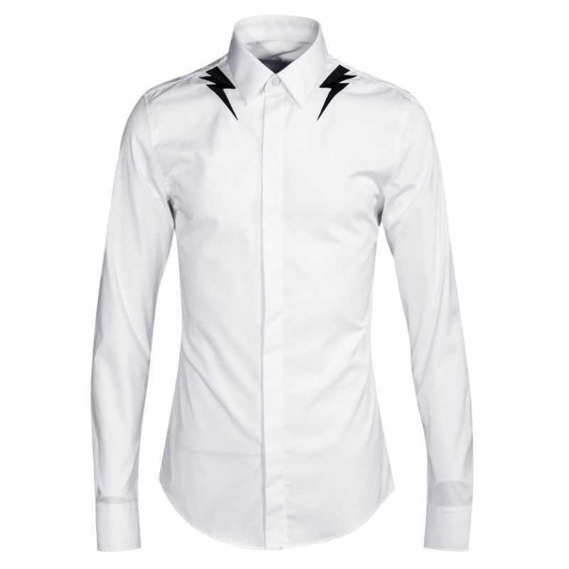 Herren Langarm Shirt Formalen Blitz Stickerei Hochzeit Kleid Chemise Homme Tops Große Größe Weiß Business Büro Arbeit Shirts