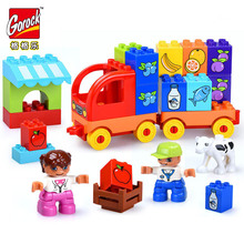 цена на Legoingly 37pcs Large Size Bricks Town Traffic Transport My First Truck Building Blocks Baby Birthday Gift Compatible With Duplo