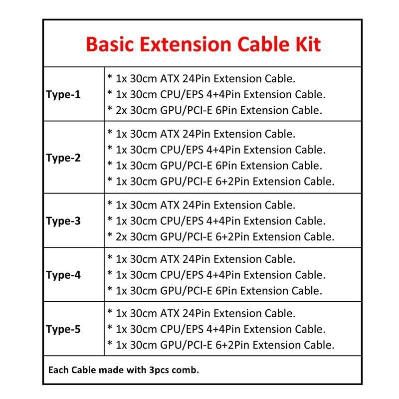 Image 4 - Basic Extension Cable Kit   180 Degree Mixed Corlor Sleeved ATX 24Pin/ 4+4Pin, PCI E 6+2Pin/ 6Pin Power Extension Cable.-in Computer Cables & Connectors from Computer & Office