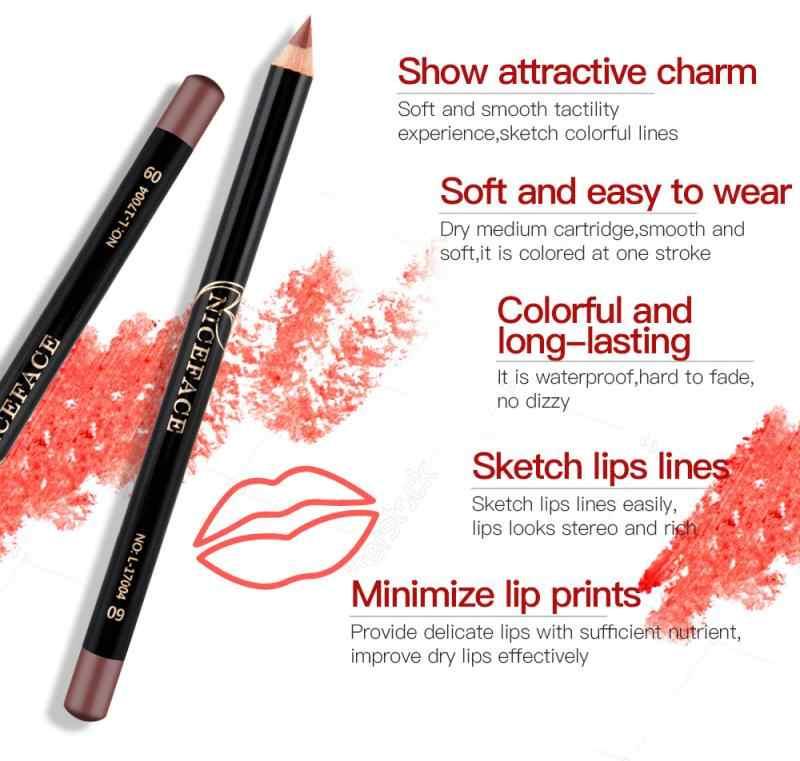 12 Warna Matte Nude Makeup Bibir LINER Tahan Air Tahan Lama Berwarna-warni Pensil Lipstik Nude Makeup Wanita TSLM1