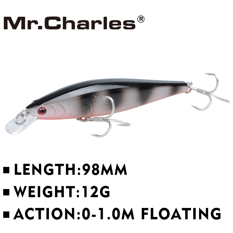 Mr.Charles CMC013 Fishing Lure 98mm/12g 0-1.0 m Floating Hard Bait Super Sinking Minnow Crankbait Lures Isca De Pesca