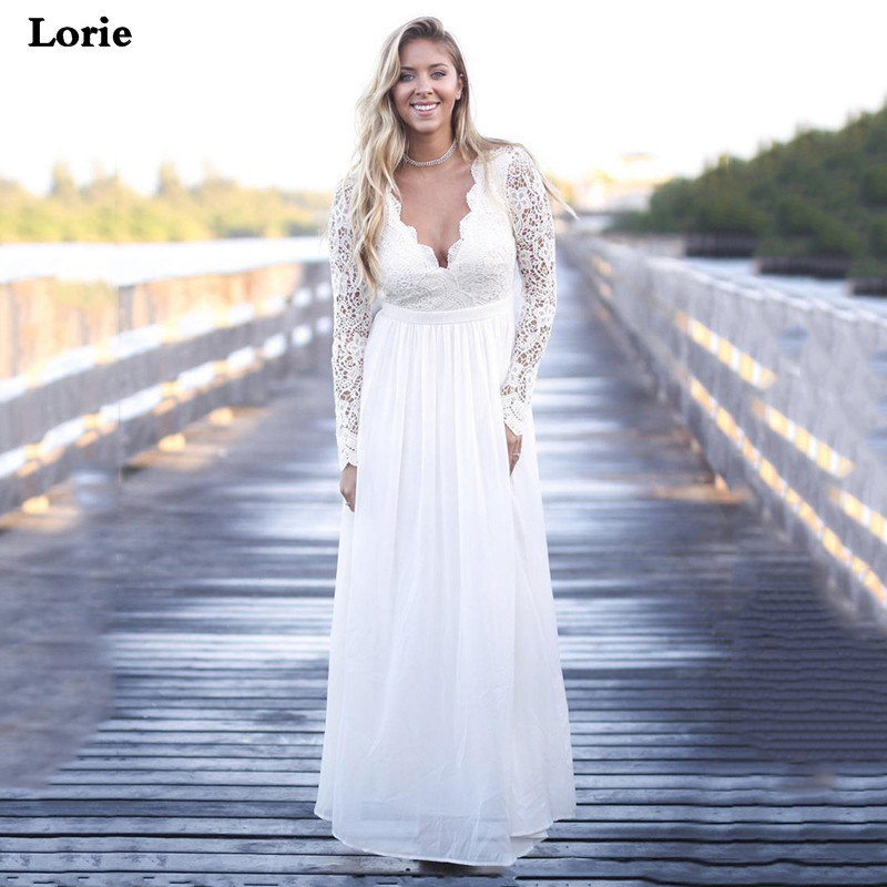 Lorie Chiffon Wedding Dresses Long Sleeves Sexy A Line Lace Bride Dresses V Neck Vestido De Novia  Elegant  Wedding Gown