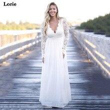 Lorie Chiffon Wedding Dresses Long Sleeves Sexy A Line Lace Bride V Neck Vestido de novia  Elegant Gown