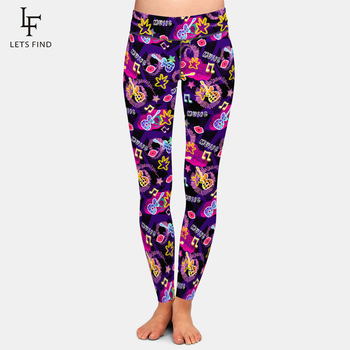 LETSFIND Fashionable Element Guitar, Lips, Notes Printing Women Leggings High Waist Plus Size Fitness Stretch Slim Female Pants