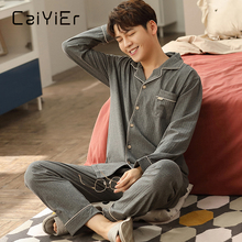 Nightwear Pajamas-Set Long-Sleeve Winter Cotton New Warm Thick CAIYIER Soft L-3XL Round-Neck