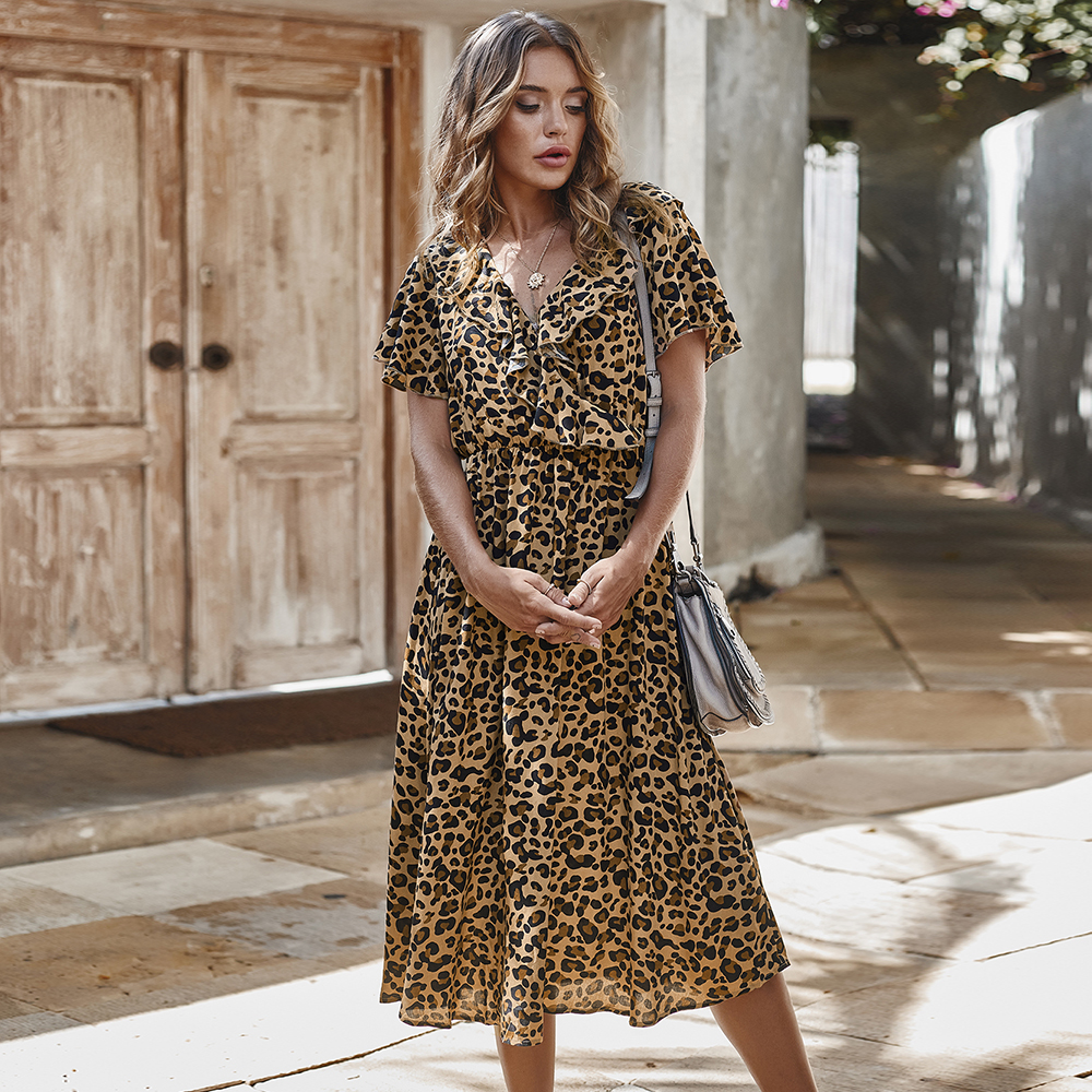 Платье женское, хлопковое, с высокой талией и леопардовым принтом|Платья|   | АлиЭкспресс