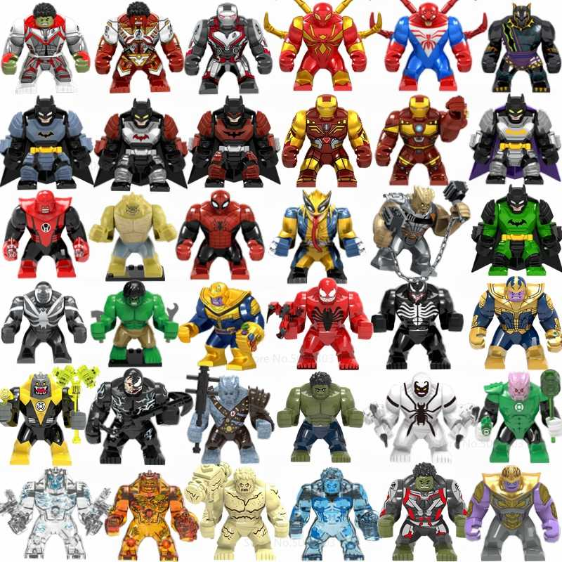 Marvel Avengers Thanos Iron Man Hulk Spiderman Batman Wolverine Building Blocks Movie Figure Super Heroes Giocattoli per I Bambini