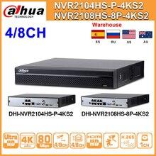 Dahua NVR2104HS P 4KS2 NVR2108HS 8P 4KS2 4CH 8CH POE nvr 4K wsparcie rejestrator dysk twardy 4/8CH POE dla system cctv zestaw bezpieczeństwa.