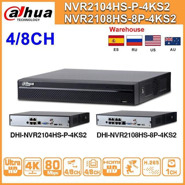 داهوا NVR2104HS P 4KS2 NVR2108HS 8P 4KS2 4CH 8CH POE NVR 4K مسجل دعم HDD 4/8CH POE لمجموعة نظام الدائرة التلفزيونية المغلقة الأمن.