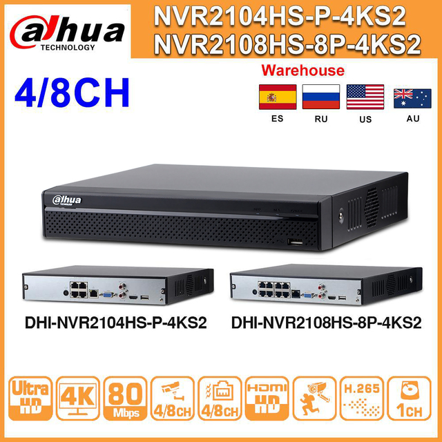 Original Dahua NVR NVR2104HS P 4KS2 NVR2108HS 8P 4KS2 4CH 8CH POE NVR 4K Recorder H.265 POE CCTV System Security Kit