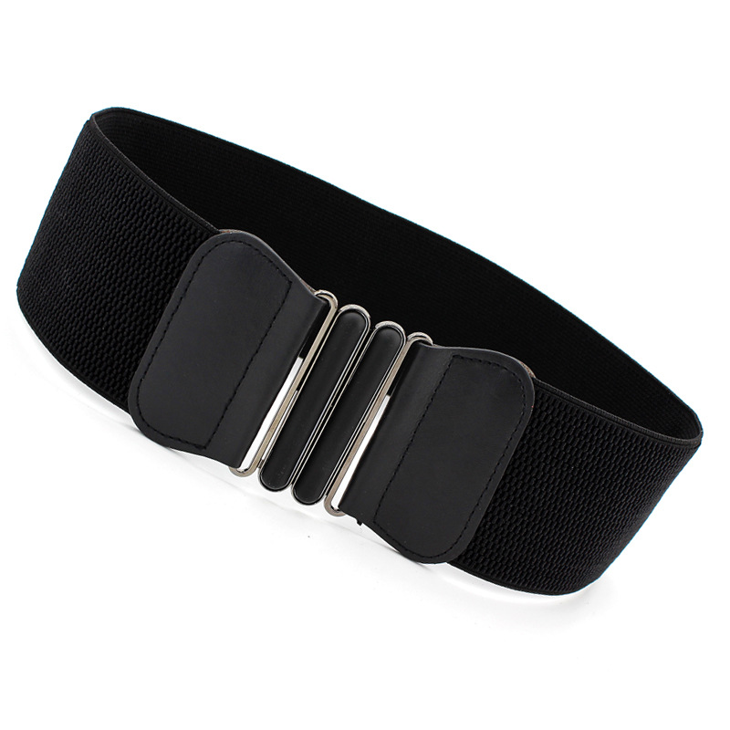 Women Belt Fashion Waist Belts Lady Solid Stretch Elastic Wide Belt Dress Adornment For Women Waistband 7.5cm Width 65cm Long