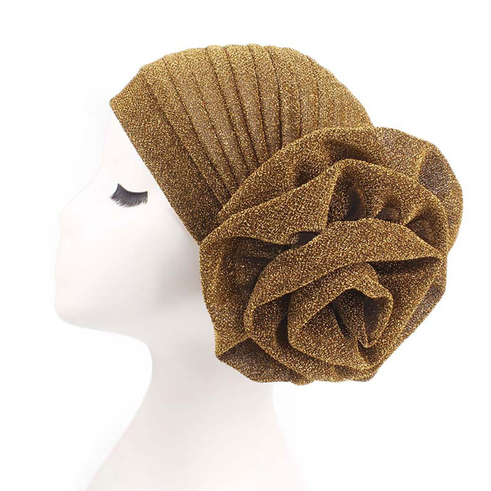 Women Elegant Flower Chemotherapy Cap Solid Stretch Hair Loss Muslim Hats Accessories Turban Beanie Glitter For Cancer Headwear
