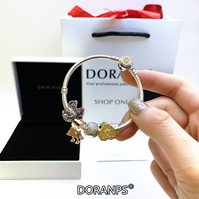 2020 Fine Jewelry DORANPS Silver 925 Charm Bead Bracelet Women Chain Bangle Jewelry Making