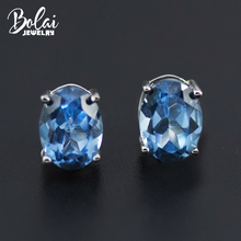 Bolai London blue topaz stud earrings real 925 sterling silver created oval gemstone jewelry for women girl simple bacis style