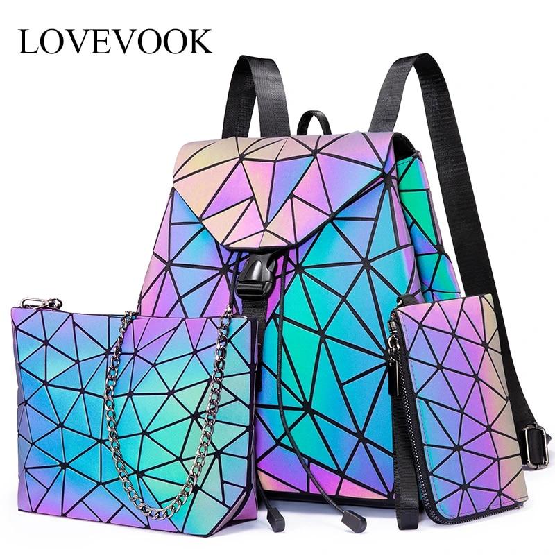 Женский рюкзак LOVEVOOK, набор сумок 3 шт, школьный портфель для девочек подростков, складываемая сумка через плечо для женщин, женский кошелек и бумажник cо карманом для карты, с геометрическими узорами и светящимися