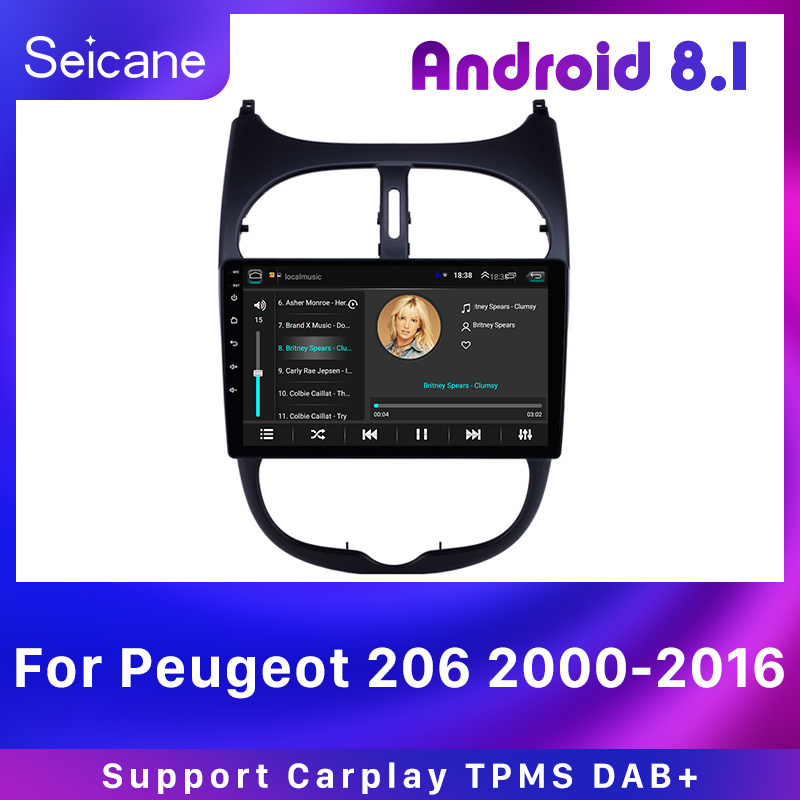 Seicane Car GPS Autoradio 9'' Android 8.1 HD Navi 2Din Touchscreen Audio for <font><b>Peugeot</b></font> <font><b>206</b></font> 2000-2016 AUX WIFI support Carplay DAB+ image
