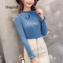 Женский трикотажный свитер с длинным рукавом эластичный базовый