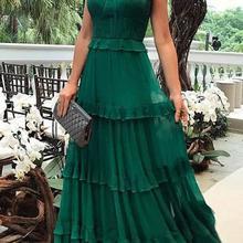 Elegant Woman Dress Spring Summer Ruffles Boho Maxi Dresses