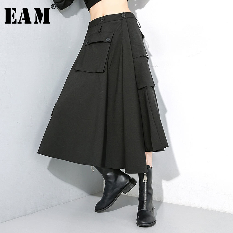 [EAM] High Elastic Waist Black  Button Split Long Temperament Half-body Skirt Women Fashion Tide New Spring Autumn 2020 1M099
