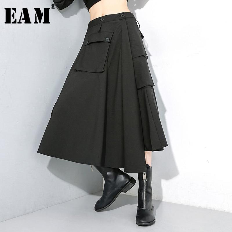 [EAM] High Elastic Waist Black  Button Split Long Temperament Half-body Skirt Women Fashion Tide New Spring Autumn 2020 1M099