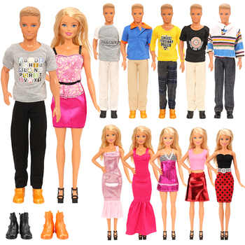 Fashion Handmade 10 Items/Set Doll Accessories =5 Ken Clothes Random +2 Dolls shoes +3 Dress For Barbie Our generation dolls 9 item set doll accessories 3 pcs doll clothes dress 3 plastic necklace random 3 pairs shoes for barbie doll girl gift toy
