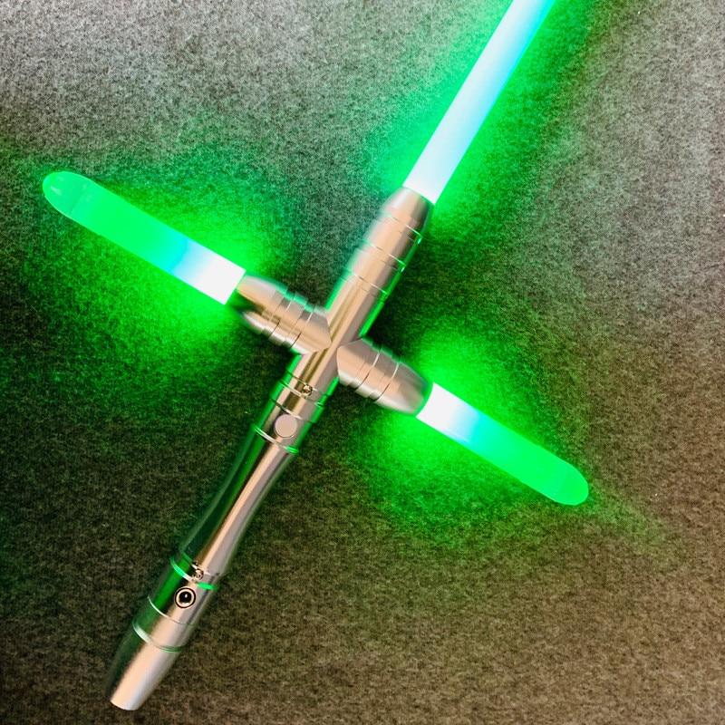 LED Jedi Knight Cross Lightsaber USB Recharging The Force Awake Duel Sound Effect Light Saber Luminous Toys Children Gifts