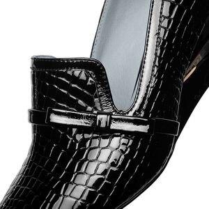 Image 5 - ALLBITEFO 本革ウェッジヒールパーティーの女性の靴のヘビ皮ハイヒールオフィスの女性の靴女性のハイヒールの靴