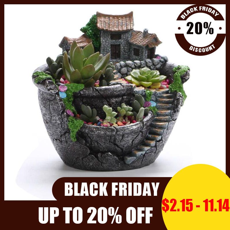 Succulent Plants Planter Flowerpot Resin Flower Pot Desktop Potted Holder Home Garden Decoration Plants Holder Flower Pots