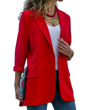 Autumn Women Fashion Long Sleeve Cardigans Outwear Ladies Solid Color Coat Open Front Slim Jackets Lapels