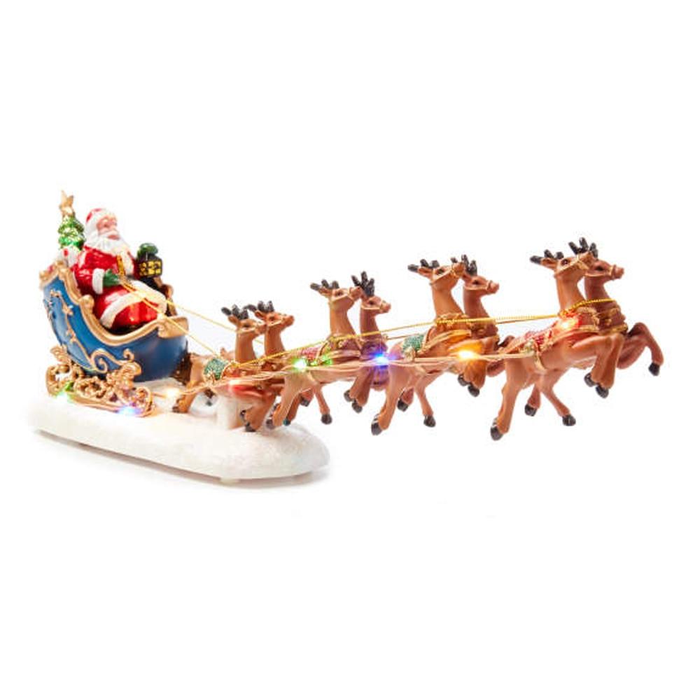 Winter Wonder Lane Christmas Village Set Santa Sleight With Reindeer Light-Up Tabletop Decor
