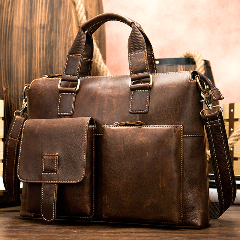 MAHEU Mens Leather Briefcase Hand Bag Genuine Leather Business Bag Working Totes Of Doctor Office Man Business Shoulder Bag 40cm